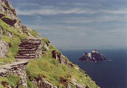 Steps leading to the monastic settlement, Little Skellig in the background