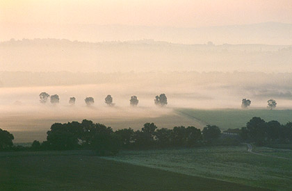 Morning mist in Tuscany.